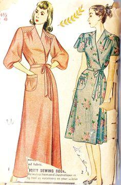 1940s Womens Plus Size Wrap Around Housecoat Or Robe Housecoat 7f65c2ac2