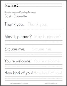 Basic Etiquette Handwriting and Spelling Worksheet - Free to print (PDF file).