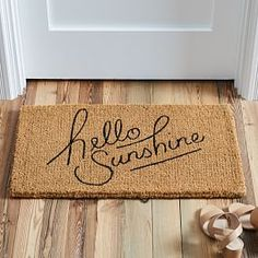 Give your guests (and yourself!) a warm and cheerful welcome with our Hello Sunshine Doormat. It's coir, a durable material made from coconut husks. Cute Door Mats, Front Door Mats, Front Door Decor, Front Porch, Front Entry, Front Doors, Mirror Shop, Coir Doormat, Room Planning