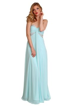 2016 Crystals Ruched Floor Length Blue Sweetheart Chiffon Sleeveless Evening / Prom Dresses 1601181501