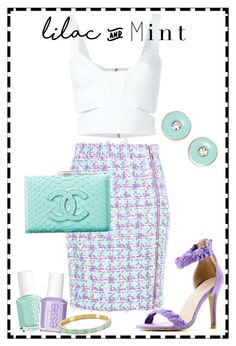 """#277 - Lilac & Mint"" by lilmissmegan ❤ liked on Polyvore featuring Boutique Moschino, Blugirl, Essie, Chanel, Sergio Bari and Kate Spade"