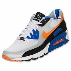 Men's Nike Air Max 90 London Running Shoes| FinishLine.com | White/Cool Grey/Hyper Blue