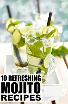 From classic to pineapple to pomegrantate to champagne, there's a mojito recipe here for every palette! Mojito Drink, Watermelon Mojito, Mojito Cocktail, Yummy Drinks, Healthy Drinks, Healthy Smoothies, Mojito Recipe, Frozen Drinks, Smoothie Recipes