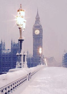 Snowy London with the Big Ben. ~London, England~