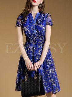 Short Sleeve Patch Print Waist Dress