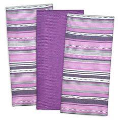 Eggplant Purple Set of 3 Urban Stripe Kitchen Cotton 20X30 Dish Towel Set