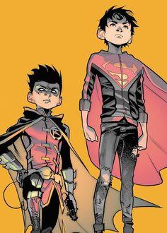 Embedded Dc Comics Heroes, Dc Comics Art, Batman Comics, Damian Wayne, Jonathan Kent, Jon Kent, Jason Todd, Batman And Superman, Batman Arkham