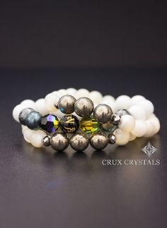 White Mother of Pearl and Gold Pyrite Beaded Bracelet, Gemstone Bracelet, Off White Bracelet, Stack, Stretch Bracelet, Stocking Stuffers
