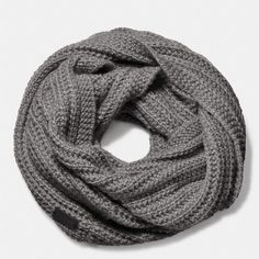 Coach New Chunky Knit Infinity Scarf ($49) ❤ liked on Polyvore featuring accessories, scarves, heather grey, infinity loop scarves, round scarf, chunky knit circle scarf, lightweight infinity scarf and lightweight infinity scarves