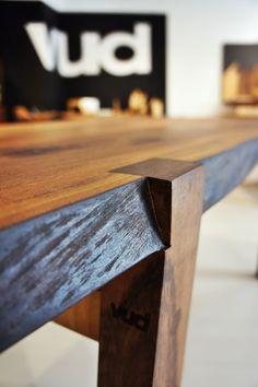 Walnut table, leg detail