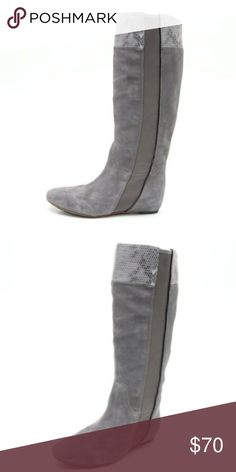 """TSUBO gray suede snakeskin galena boots Super cute grey boots in good condition they have like a hidden wedge inside about 1/2"""" small. Tsubo Shoes"""