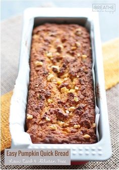 Keto Pumpkin Quick Bread - Gluten Free An easy pumpkin quick bread recipe that is not only delicious, but low carb, gluten free & Paleo friendly!An easy pumpkin quick bread recipe that is not only delicious, but low carb, gluten free & Paleo friendly! Quick Bread Recipes, Low Carb Recipes, Gluten Free Recipes, Cooking Recipes, Rice Recipes, Healthy Recipes, Low Carb Bread, Keto Bread, Low Carb Keto