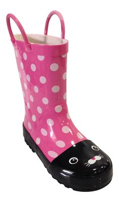 SIYA Toddler & Youth Little Girls Pink and Black Cat Rain Boots w/ Mesh Lining (13.5). Design: Pink and Black Cat Rain Boots w/ Lining. Great design throughout the boot. Your kids will love the cat design. They look absolotely stunning person. Material: High Quality Rubber Material. Use: Waterproof Design will keep feet dry. Let your kids go puddle jumping without the fear of getting wet. Great to wear out in the rain or snow. Feet will stay dry and warm. Comfortable, Stylish, and Easy to...