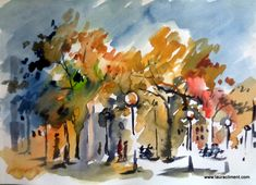 Lights in the city. Watercolor, Lights, Plaza, Russia, Painting, City, Blog, Lanterns, Pen And Wash