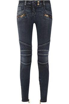 Balmain Moto-style low-rise skinny jeans | NET-A-PORTER