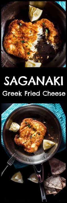 Saganaki (Greek fried cheese) is crunchy on the outside and melty on the inside. If you like cheese, you're going to love this pan-seared Greek cheese appetizer. Ready in 10 minutes! Greek Fried Cheese, Fingers Food, Greek Dinners, Vegetarian Recipes, Cooking Recipes, Amish Recipes, Dutch Recipes, Greek Cooking, Cooking Light