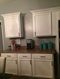 Loving my new white cabinets. Next to change out counters. White Cabinets, Kitchen Cabinets, Remodeling, Change, Home Decor, White Dressers, Decoration Home, Room Decor, Kitchen Base Cabinets