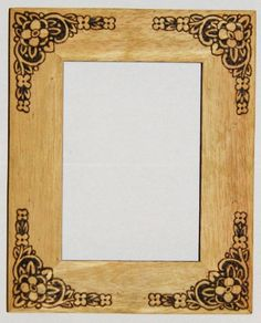 Woodburned picture frame.