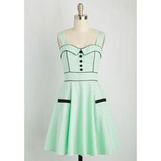 Pinup Mid-length Sleeveless Fit & Flare Heps and Dreams Dress ($70) ❤ liked on Polyvore featuring dresses, mint, apparel, fashion dress, green sleeveless dress, a line dress, fit and flare dress, retro polka dot dress and pin up dresses