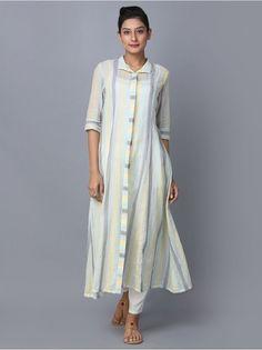 Multicolor Striped Cotton Shirt Dress