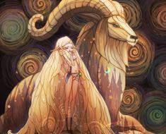 Illustration art painting digital art horse goat nymph Jie He