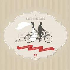 tandem: Invitación de boda divertida con la novia y el novio montando bicicleta en tándem