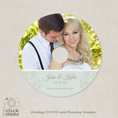 Wedding CD/DVD Label Template  C120 Instant by ClickChicksDesigns, $3.49