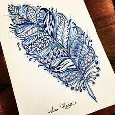 Zentangle Feather Mandalas Painting, Mandalas Drawing, Zentangle Drawings, Zentangle Patterns, Zentangles, Henna Patterns, Mandala Feather, Feather Art, Feather Tattoos
