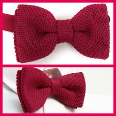 VoiVoila New Men's Tuxedo Red Solid Double Layer Waffled Knit Pre Tied Bow Tie | eBay