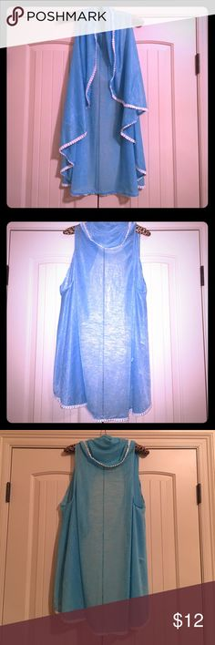Swimsuit coverup shawl kimono BRAND NEW!! Never worn! • One size fits all • super soft and breezy! Has cute white dot trim all the way around. • Can be worn lots of different ways! • awesome almost neon blue color Swim Coverups