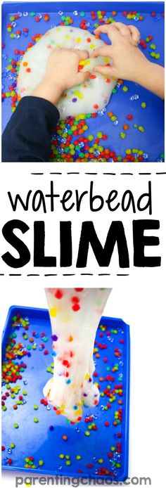 how to make water bead slime is a super fun science activity! Plus it is a fun sensory bin to play with afterwards!Learning how to make water bead slime is a super fun science activity! Plus it is a fun sensory bin to play with afterwards! Motor Activities, Sensory Activities, Infant Activities, Activities For Kids, Crafts For Kids, Autism Activities, Preschool Projects, Activity Ideas, Science Projects
