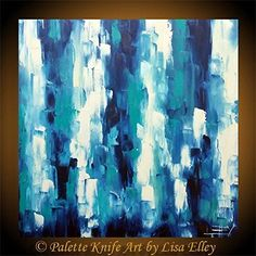 Original abstract oil painting, palette knife artwork by award winning San Francisco Bay artist Lisa Elley. A stunning large format abstract palette knife painting, with calming hues of blue and Titanium white. READY TO SHIP, direct from the San Francisco Bay studio of an award winning fine artist ------ This listing is for a large, gallery quality abstract painting. 100% Palette knife, the impasto paint on this piece is very thick, and will just leap off your walls! T I T L E: Pacific...