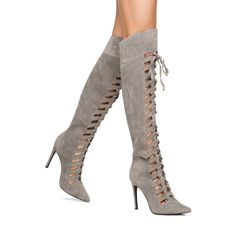 New Sexy Gray Fashion Lace Up Thigh High Boots Women Over Knee Heels 6 - 11 #Other #FashionOvertheKnee