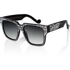Anna-Karin Karlsson Coco And The Row Sunglasses ($1,020) ❤ liked on Polyvore featuring accessories, eyewear, sunglasses, black crystal, wide sunglasses, studded sunglasses, logo sunglasses, rectangle glasses and rectangle sunglasses