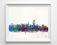 San Francisco Skyline Watercolor Poster California by InkistPrints, $11.95 - Shipping Worldwide! [Click Photo for Details]