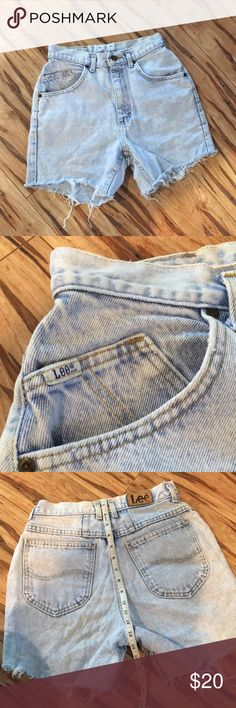 Lee High Rise Jean Shorts Size 9 Med  Acid Washed Custom Cut Jean Shorts Lee Jeans Shorts Jean Shorts