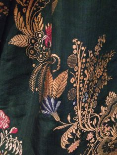 Detail, #silk #brocade gown (textile, c. 1760s-1770s; with alterations through Colonial Revival period) Gold and polychrome silk threads. From Strawbery Banke Museum. On loan 3/14  @dyerlibrarysaco