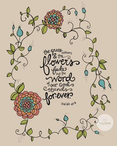 Scripture Art Bible Verse Hand Drawn Flower by hopeink on Etsy
