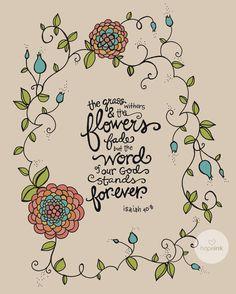 Scripture Art Bible Verse Hand Drawn Flower by hopeink on Etsy