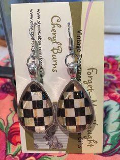 MY OWN Handmade Silver Tone Pierced Earrings  Using MacKenzie-Childs Paper  | eBay
