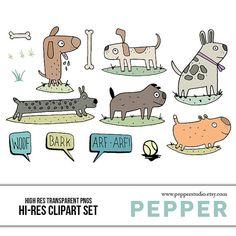 INSTANT DOWNLOAD  Dog Doodle Illustration Clipart by PepperStudio