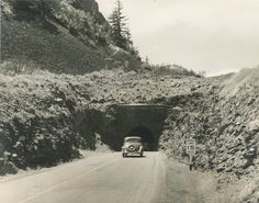 From Oregon State Archives a picture of one of the Mosier Tunnels in the Gorge from the early 1940s.