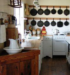 The Country Farm Home: My Kitchen's Hidden Secrets hanging pans Kitchen Items, New Kitchen, Vintage Kitchen, Kitchen Dining, Kitchen Decor, Kitchen Display, Rustic Kitchen, Vintage Stove, Walnut Kitchen
