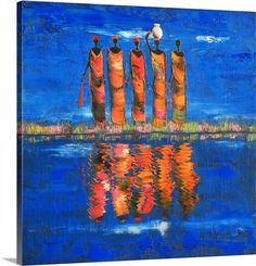 """African American Art - """"Midnight River II"""" wall art by Michel Rauscher available at Great BIG Canvas. African American Artwork, African Artwork, American Artists, African Life, Tribal African, Contemporary African Art, Canvas Art, Canvas Prints, Big Canvas"""