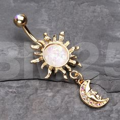 Golden Blazing Sun Opal Sparkle Moon Dangle Belly Button Ring