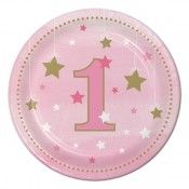 Twinkle Twinkle Little Star Girl 1st Birthday Dessert Plates (8)