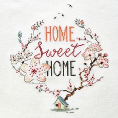 Home sweet home - cross stitch / Helene Le Berre Cross Stitch House, Just Cross Stitch, Cross Stitch Needles, Cross Stitch Heart, Cross Stitch Borders, Modern Cross Stitch, Cross Stitch Flowers, Cross Stitch Designs, Cross Stitching