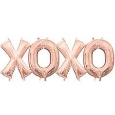 The Air-Filled Rose Gold XOXO Balloon Kit includes curling ribbon and foil letter balloons that spell out 'XOXO.' Use this fun kit to create a banner for an engagement, special occasion, or birthday party! Graduation Party Supplies, Halloween Party Supplies, Birthday Supplies, Kids Party Supplies, Halloween Party Decor, Halloween Costumes For Kids, Rose Gold Letter Balloons, Pink Balloons, Valentines Day Decorations