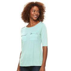 Women's Croft & Barrow® Solid Pocket Tee, Size: Medium, Brt Blue