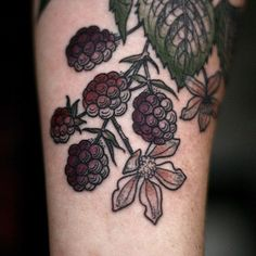 Raspberries and Flowers Tattoo by Kirsten Holliday at Wonderland Tattoo, Portland, OR